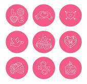 St. Valentine Day icons, thin line style, flat design — Stock Vector