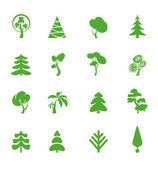 Green leaf icons set. Nature ecology image. — Stock Vector