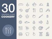 Kitchen seamless pattern 30 icon set — Stock Vector
