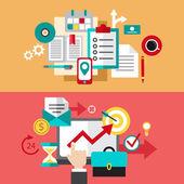 Set of modern flat design business vector infographics banners — Stok Vektör