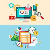 Set of modern flat design business vector infographics banners — 图库矢量图片