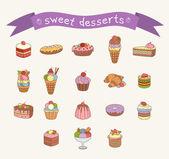 Zestaw ikon różnych słodyczy — Wektor stockowy