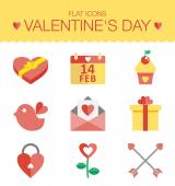 Cute set of icons for Valentines day, wedding, love and romantic events .For web and mobile , wedding infographic. Vector — Stock Vector