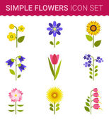 Set of floral icon — Stock Vector