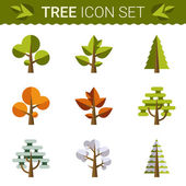 Set of different trees, rocks, grass. Sprites for the game. vector flat forests illustrations — Stock Vector
