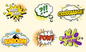 Comic speech bubbles in pop art style with bomb cartoon explosion splach powl snap boom poof text set vector illustration — Vector de stock
