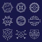 Set of simple and graceful monochrome monogram design templates, Elegant lineart logo design elements — Stock Vector