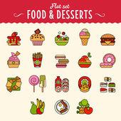 Lebensmittel ikonensammlung im flachen design-stil. — Stockvektor