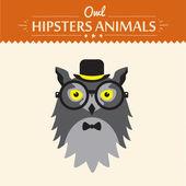 Vector Hipster Owl greeting card design illustration — Stock Vector