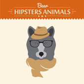 Vector illustration of hipster bear in sweater and glasses — Stock Vector
