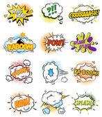 Set of Retro Comic Book Vector Design elements, Speech and Thought Bubbles illustration — Stockvektor