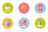 Baby  children icons set, vector — Stock vektor