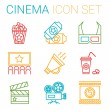 Постер, плакат: Flat line icons set of professional film production movie shooting studio showreel actors casting storyboard writing and post production Flat design style modern vector illustration concept