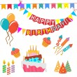 Retro Birthday Celebration Design Elements - for Scrapbook, Invitation in vector — Stock Vector #64441581
