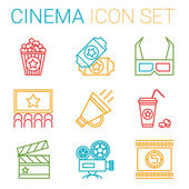 Flat line icons set of professional film production, movie shooting, studio showreel, actors casting, storyboard writing and post production. Flat design style modern vector illustration concept. — Stock Vector