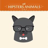 Mode porträtt av hipster katt med glas och båge — Stockvektor