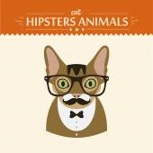 Fashion Portrait of Hipster Cat with glasses and bow — Vettoriale Stock