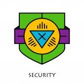 Simple shields badges design. Logo template. Vector icons set. — ストックベクタ