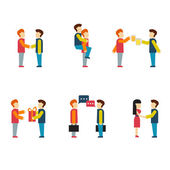 Friends and friendly relationship icons — Stock Vector