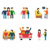 Friends and friendly relationship flat line icons set with people chatting present party isolated vector illustration — Stock Vector