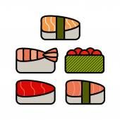 Asia food icon set with sushi rolls sashimi noodle miso isolated vector illustration — Stock Vector