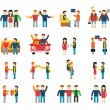 Friends and friendly relationship social team flat icon set isolated vector illustration — Stock Vector #65054787