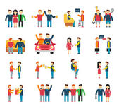 Friends and friendly relationship social team flat icon set isolated vector illustration — Stock Vector