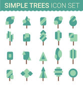 Set of flat tree icon. Vector illustration Contains transparent objects — Stock Vector