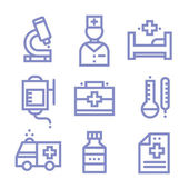 Contour simple medical icons set — Stock Vector