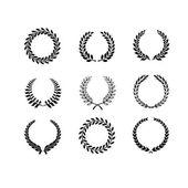 Set of circular laurel foliate and wheat wreaths — Stock Vector
