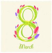 Tebrik kartı ile 8 Mart — Stok Vektör
