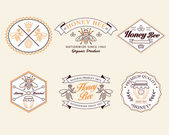 Honey and bees vector badges and labels for any use. — Stock Vector