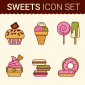 Set of delicious cakes — Stock Vector