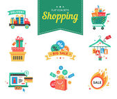 Collection of shopping carts full bags and gift boxes. Concept discount. Vector. — Stock Vector