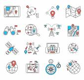 Navigation and geolocation thin flat lines — Stock Vector