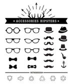 Hipster style and accessories icon set — ストックベクタ