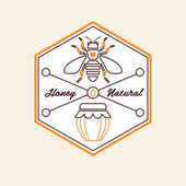 Set of honey and bees labels — Stock Vector