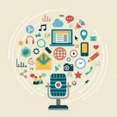 Ikony sociální síť, sociální média — Stock vektor