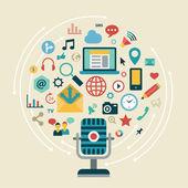 Icons of social network, social media — Stok Vektör