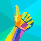 Like,hand sign geometrical style — Vetor de Stock