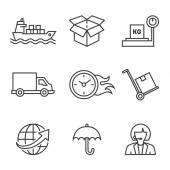 Shipping process icons on white — Stock Vector