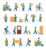 Postman people on white — Vector de stock