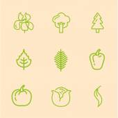 Plant icons linear style — Stock Vector