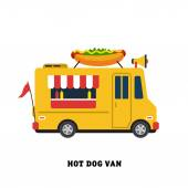 Hot dog on wheels, fast food — Stock Vector