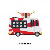 Fast delivering sushi to customer — Stock Vector