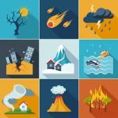 Icônes de catastrophe naturelle — Vecteur
