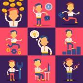 Set of successful businessmen — Stock Vector