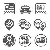 Taxi service set — Vettoriale Stock