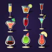 Alcohol Coctails and Other Drinks — Stock Vector