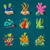 Marine plants set — Stock Vector